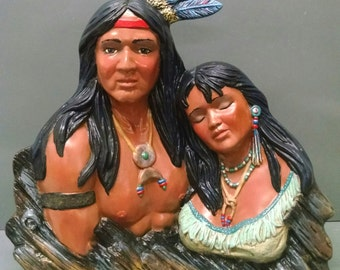 SALEIndian Romance--Native American Indian Figurine--Heirloom Quality--Hand-Painted Ceramic--Home Decor--Native American Art