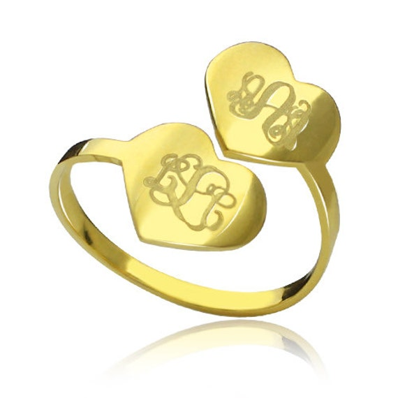 Eternal Love Two Monogram Ring Engraved Initials Ring Two