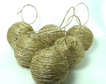 Recycled Christmas jute ornament rope hemp rustic hanging ball set of 6