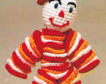 Crochet Clown Doll ... Nursery Toy ... PDF Crochet Toy Pattern ... Great Gift ... 39cms .. 15.25 ins ... Fair, Fete or Market Item