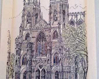 D.A. Heald Hand Tinted The Minster York Print Signed 1974 Free Shipping