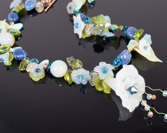 Blue Flowers Burst Forth necklace