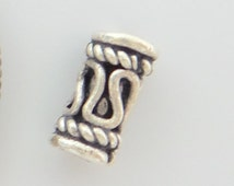 Bali solid 925 Sterling silver tube spacer bead. Oxidized. Handmade .Wholesale. B527