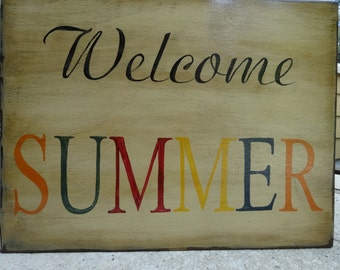 Welcome Summer/ Hand painted wood sign/ Patio wood sign/ Outdoor decor/ Porch decor/ Summer sign