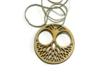 Laser cut wood, laser cut Owl Pendant, intricate owl necklace natural wood