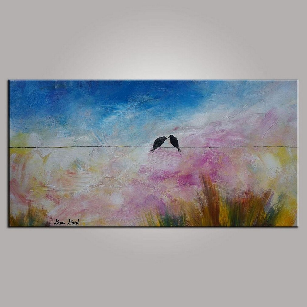 Wedding Gift Canvas Painting : Oil Painting Wall Art Wedding Gift Bird Painting by TopTextureArt