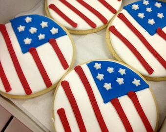 4th of July sugar cookies - One Dozen Fourth of July Cookies Fourth of July party favors U.S. Flag cookies