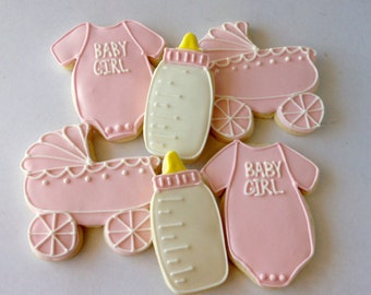 Baby Girl Congratulations Shower Favor Pink Sugar Cookies - one dozen