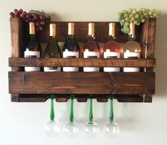 Wall Mounted Wine Rack Holder Wine Glass by LalasCollections