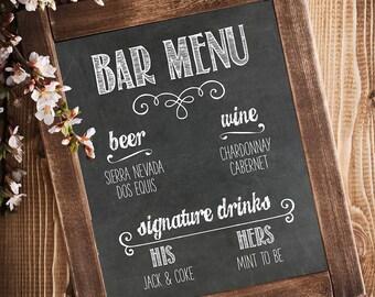 Bar Menu - Wedding Print, Bar Menu Sign, Wedding Printable, Chalkboard Menu, Wedding Chalkboard Decor