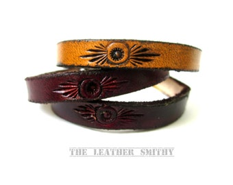 """Rustic Leather Sun Bracelet 1/4"""" wide, Leather Bracelets, Hand Tooled Leather Jewelry"""