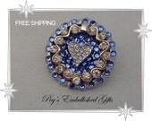 Bouquet Brooch, Rhinestone, Bridal Garter, Something Blue, Flower, Bridal Brooch Pin, Sapphire Pin, Wedding Sash, Purse Pin, FREE Shipping