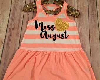 Miss August Dress Pink Sparkle Birthday Shirt Baby Girl Birthday Shirt Girl  Birthday Shirt Party Birthday Outfit, Choose your month