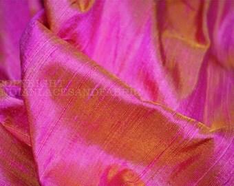 Dupioni Silk Fabric - Iridescent Hot Pink and Yellow  pure silk by half yard