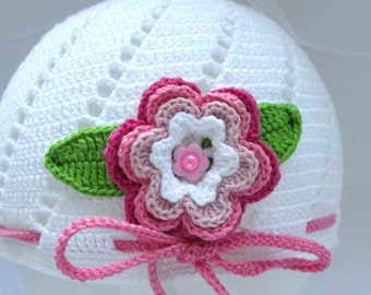 Crochet Baby Hat - Baby Girl Hat - White Hat With Flower - Made To Order - Cute Baby Hat