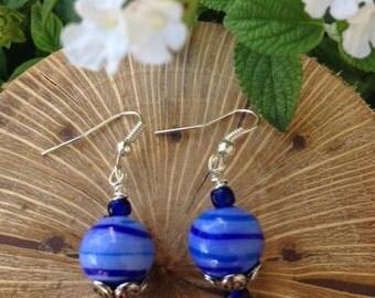 Glass bead earrings,  boh, handmade beaded earrings,  beaded jewelry,