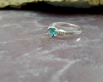SALE! London Blue Topaz Ring, Sterling Sivler Ring, Prong Ring, Gemstone Ring, Birthstone Ring,Promise Ring,Gift For Her