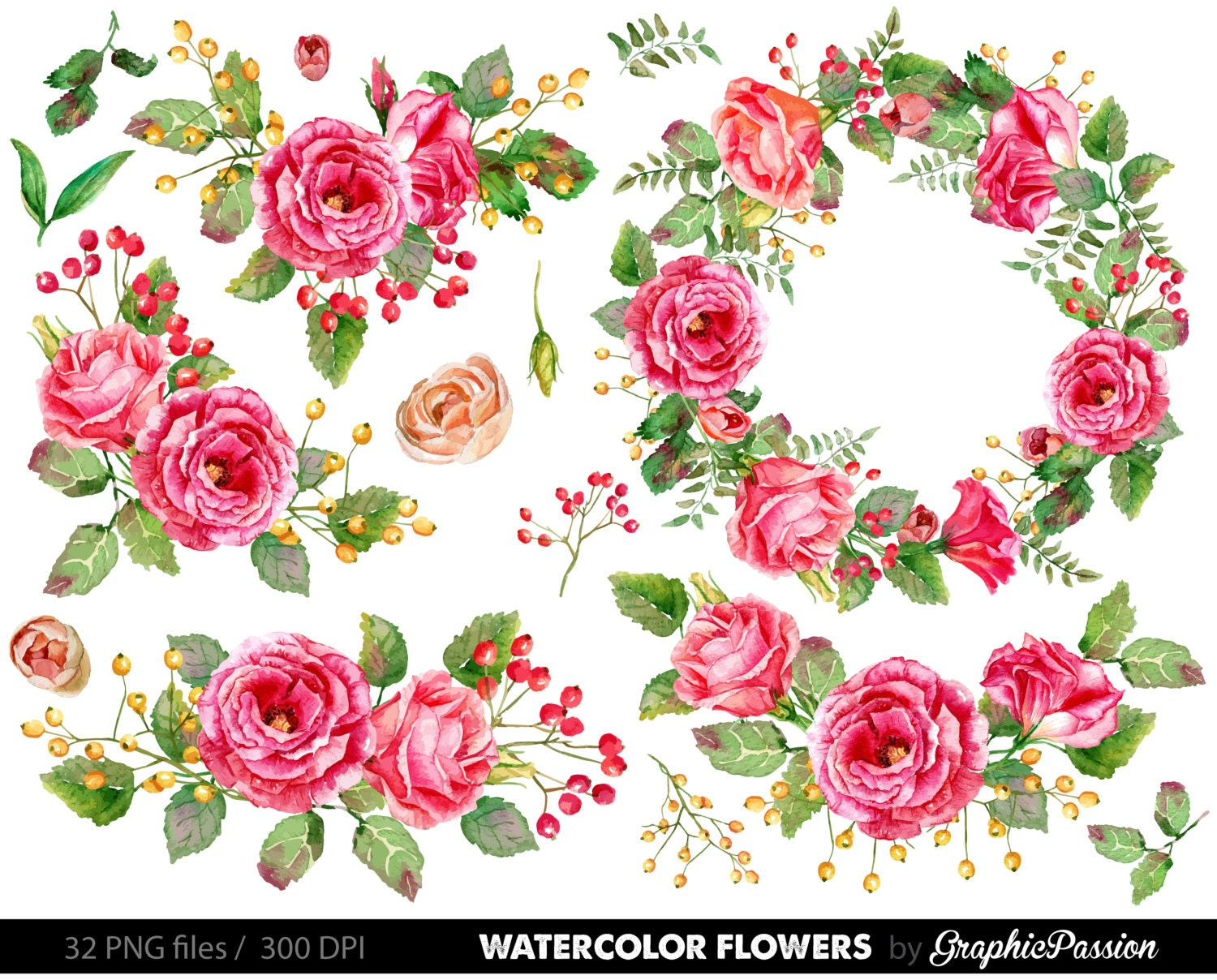 watercolor flower clipart wedding floral clip art floral. Black Bedroom Furniture Sets. Home Design Ideas