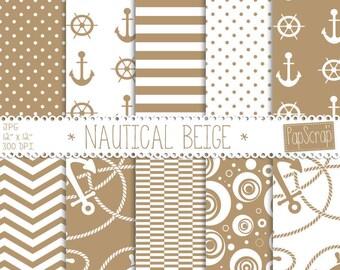 "Nautical digital paper : ""Nautical Beige"" beige, brown digital paper with nautical patterns, chevron, anchor, boats and waves"
