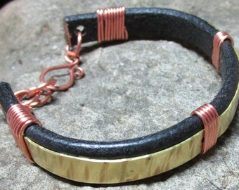 BRH-009 Bracelet leather brass and copper, free shipping / Free Shipping