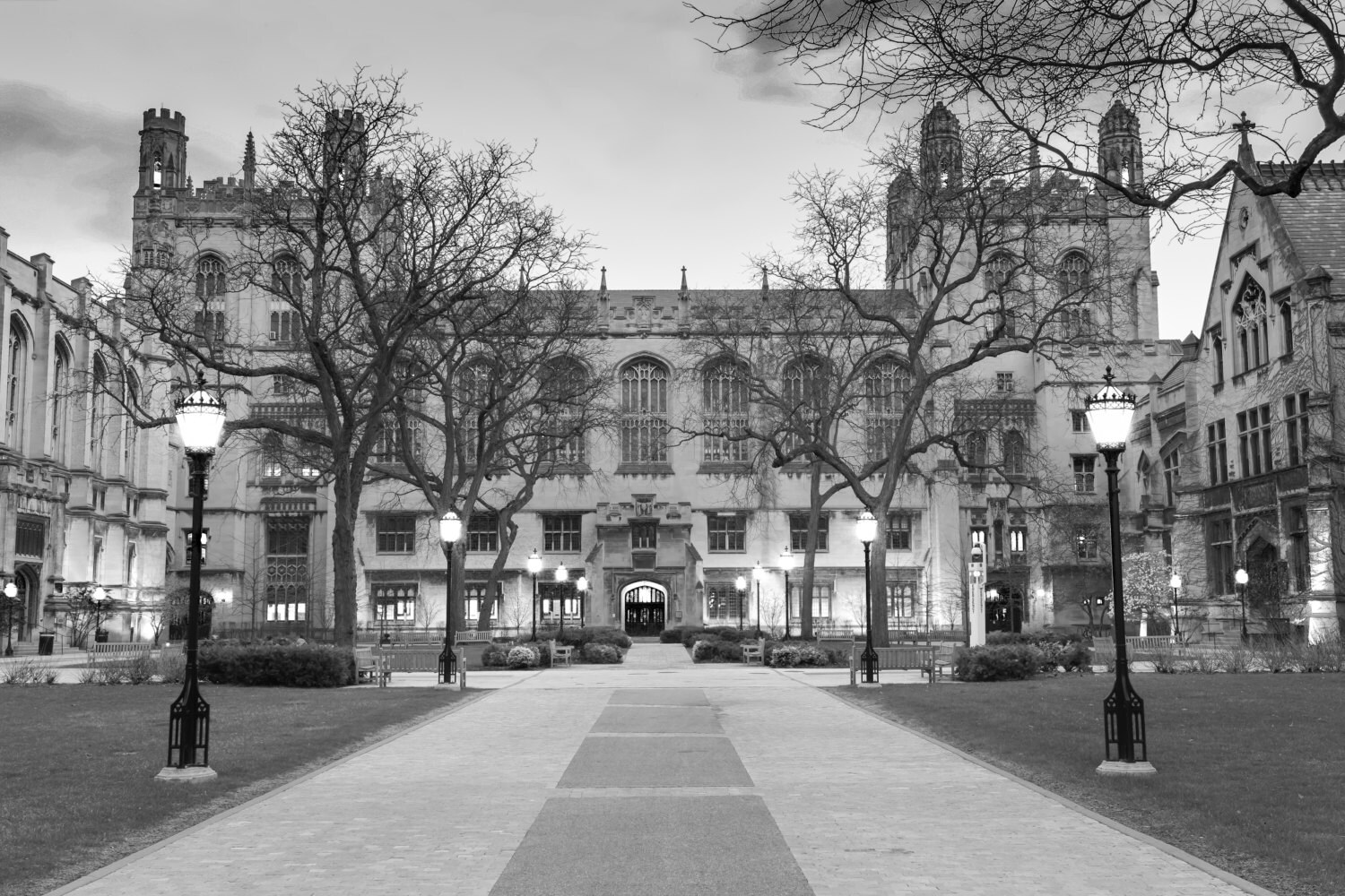 Chicago Architecture Black And White chicago university photograph harper memorial library