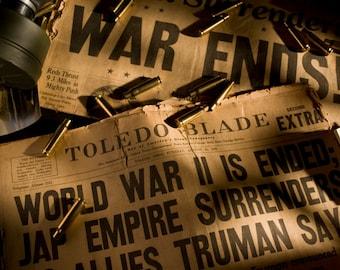 Nuked, Toledo Blade, Japan, 1945, War, Bullet, Casing, Gas Mask, Newspaper, Hitler, War, Surrender,