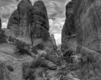 Black and White, Crevasse, Arches Canyon, HDR, Utah
