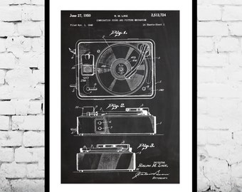 Record Player Patent, Record Player Poster, Record Player Print, Record Player Art, Record Player Decor, Record Player Blueprint