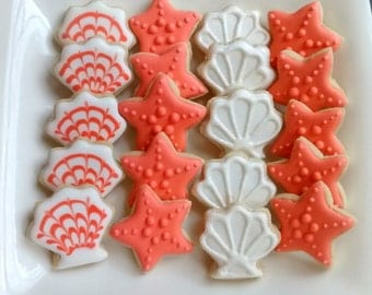 "Under the sea mini sugar cookies or large 3.5"" with royal icing seashells, starfish, turtles, seahorses"