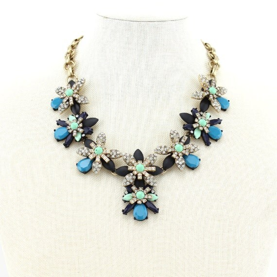 flower statement necklace multi colored necklace bib necklace