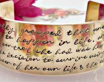 Queen of Her own Life-Hand Stamped Solid Brass Cuff bracelet-Inspirational Quote Bracelet/Jewellery/Jewelry