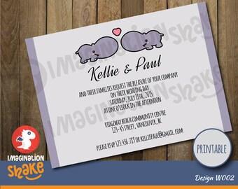 Personalized Kawaii Hippos Wedding Invitation PRINTABLE / Printable Wedding  Invite / Hippos Wedding Invitation / DIY