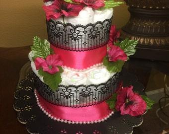 Elegant two tier diaper cake -black and pink diaper cake