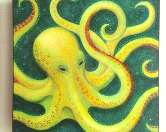 """Octopus Art--Wood Mounted Archival Print of Original Mixed Media Art with Hand-Painted Details and Finish--""""Octopus""""--Pam Kapchinske"""
