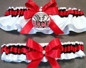 Handmade Scarlet and Black Wedding Garter Set Bridal Garter Set, with University of Alabama™ Fabric Covered Button Embellishment #C/02-A