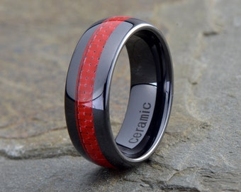 Red Carbon Fiber Inlay Ceramic Wedding Band ,Domed, 8mm, Anniversary Band, Mens Womens Black Ceramic Band, Red Mens Ring