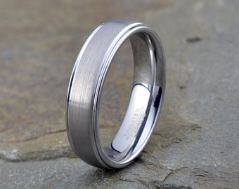 Brushed Tungsten Ring, Mens Women's Tungsten Wedding Band, Polished Edge, 6mm, Comfort fit, Tungsten Carbide, Brushed Tungsten Carbide rings