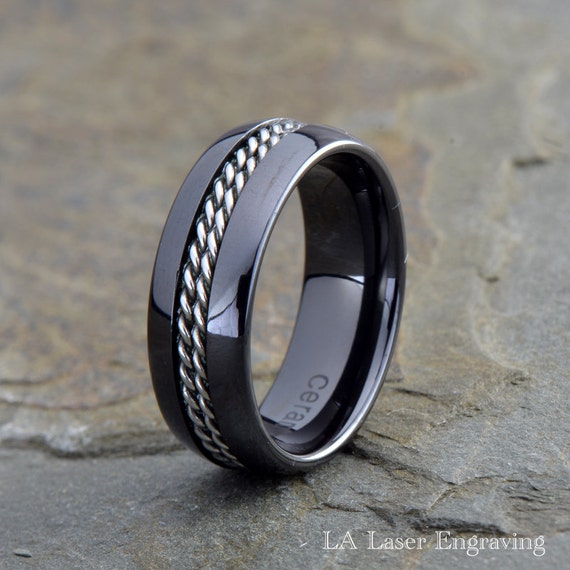 Twisted Rope Inlay Black Ceramic Wedding Band Stainless Steel