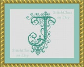 Counted Cross Stitch Pattern PDF. Monogram letter J vintage. Font J. Litera J for initial of persona. Instant Download Epattern PDF File