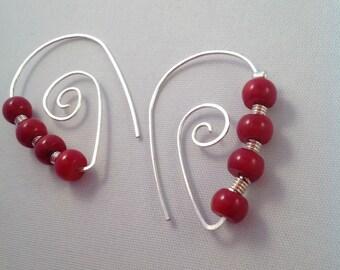 Silver swirl earrings