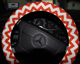 Steering Wheel Cover . Orange and White Chevron Wheel Cover . Womens Wheel Cover .