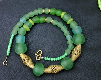 Green African Necklace , Lost Wax Beads, Recycled Glass Beads