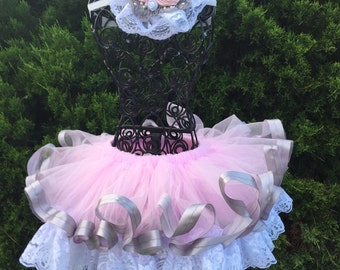 Pink Tutu. Pettiskirt. Lace and satin tutu. Tutu and headband set. Country girl / cowgirl tutu. Set.