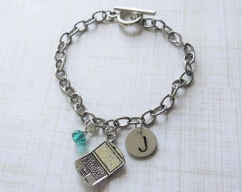 Laptop Computer Charm Bracelet Personalized Hand Stamped Toggle Bracelet