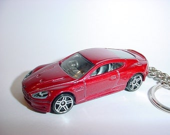 3D Aston Martin DBS custom keychain by Brian Thornton keyring key chain finished in dark red color trim