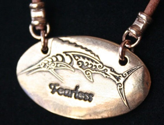 Bill Fish with fearless underneath in Bronze