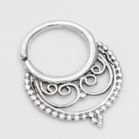 Oxidized silver Septum Ring for pierced nose. septum nose ring. septum piercing. septum ring 18g. silver septum ring. septum jewelry.