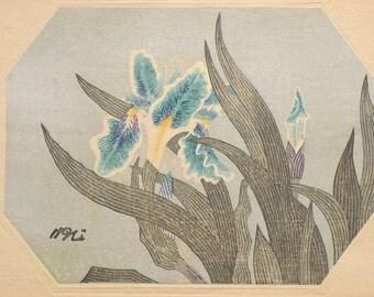 "Ukiyoe, Original Sōsaku-hanga, Woodblock print, antique, Kamei Tobei, ""Iris tectorum"""