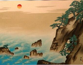 Japanese antique woodblock print, Yokoyama Taikan, Large size.