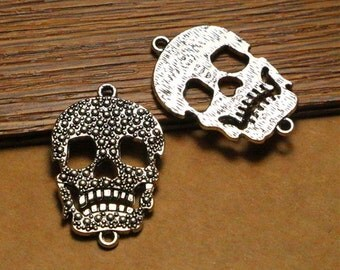 10pcs antique silver skull findings charms, connector charms,jewelry making supplies,22*33mm
